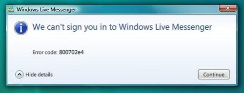 Messenger sign-in error code 800702e4