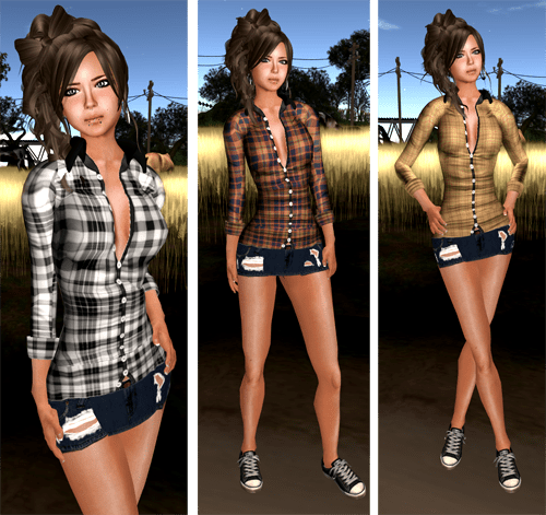 [M2M]..::Cowboy*Plaid Shirt & Ripped Mini Skirt::..