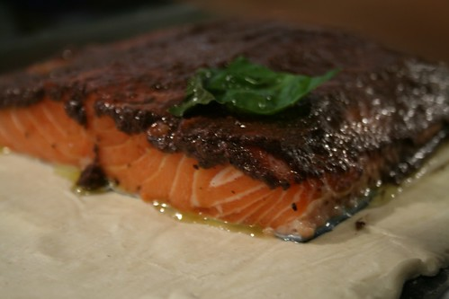 Black olive tapenade on salmon fillet © dan&tuesy
