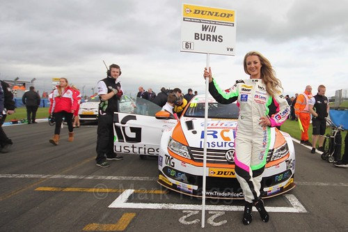 Will Burns on the grid before race two at the British Touring Car Championship 2017 at Donington Park