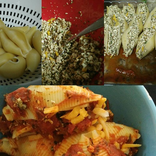 Made some stuffed shells last night. So good!  #stuffedshells #vegan #veganrecipes #veganfriendly #italian #homemade #easyveganmeals #tofuricotta