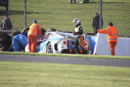 Grahame Tilley crashes out of the Ginetta GT4 Supercup during the BTCC Weekend at Donington Park 2017: Saturday, 15th April
