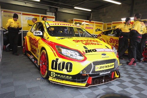 Martin Depper's car in the garage before race two at the British Touring Car Championship 2017 at Donington Park