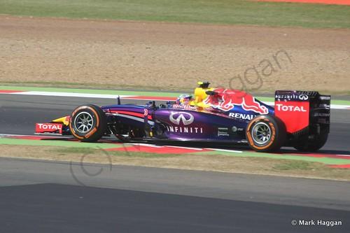 Daniel Ricciardo in his Red Bull during Free Practice 1 at the 2014 British Grand Prix