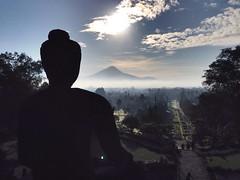 Buddha facing Merapi Volcano