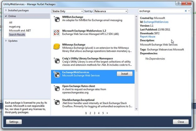 Microsoft Exchange Web Service Reference on NuGet