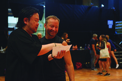 (L to R) Stafford Arima (Director) and Randy Slovacek (Choreographer) during rehearsal for A Chorus Line, produced by Music Circus at the Wells Fargo Pavilion June 24 – 29, 2014. Photos by Charr Crail.