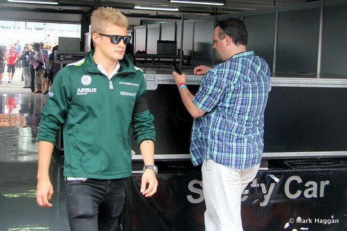 Marcus Ericsson after the Drivers' Parade at the 2014 German Grand Prix