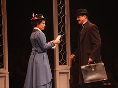 (L to R) Kelly McCormick (Mary Poppins) and David Engel (George Banks) in Mary Poppins, produced by Music Circus at the Wells Fargo Pavilion July 8 - 13, 2014. Photos by Charr Crail.