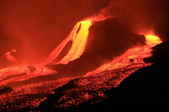 Oh Boy, What The Hell Is For? lava flow at night