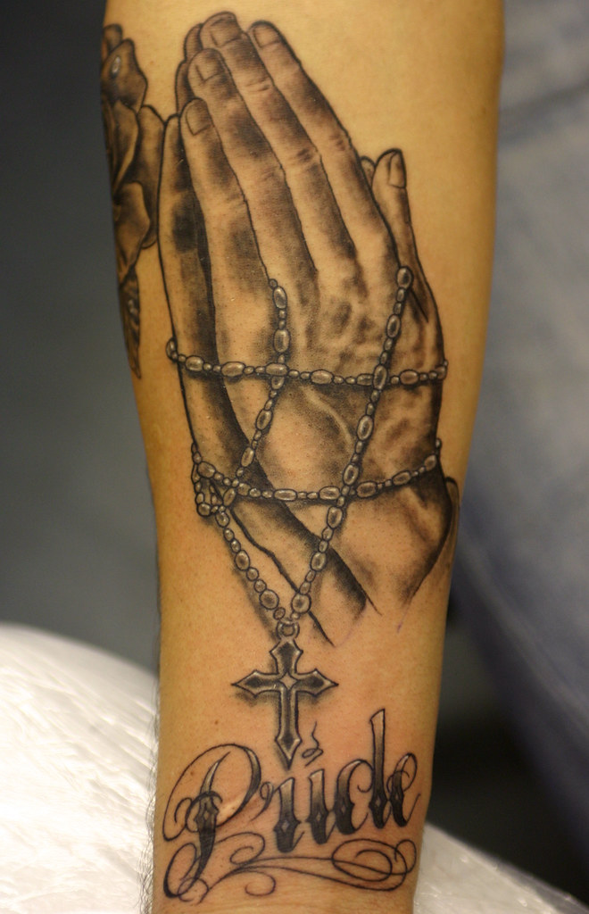 Hands Rosary Tattoos Cross And Beads Praying