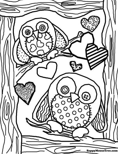 hard owl colouring pages page 3