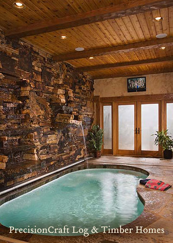 Custom Design Timber Frame Home Indoor Pool By
