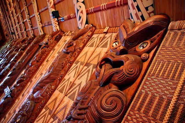 Maori hut interior at Waitangi