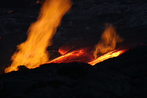 Lava Flowing at Kalapana by Caleb Slemmons