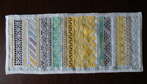 Openwork sampler, finished