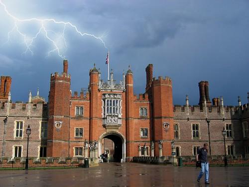 Hampton Court Palace with lightning