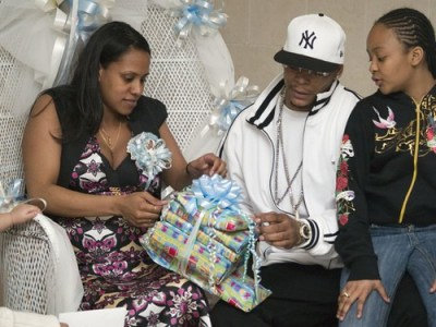 African American mom and dad to be at Baby Shower