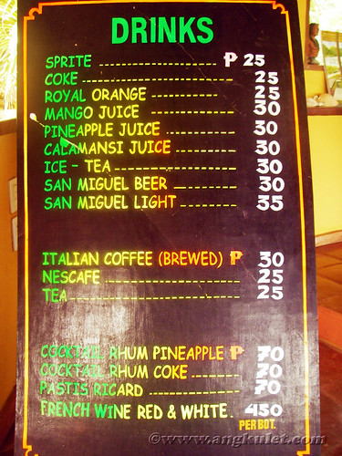 Drinks Menu, Casa Rosa, Taytay, Palawan