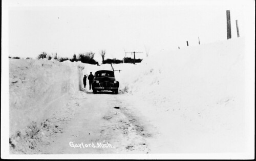 Otsego Gaylord Mi Winter Drifts in the 1940s RPPC