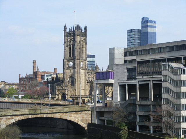Manchester Cathedral from Blackfriars Bridge