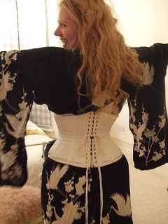 I discovered, to my chagrin, that this corset is now a little bit too big for me.  BAH.