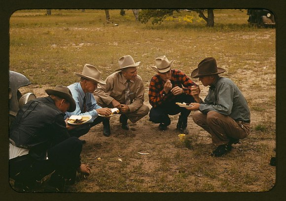 Men of the community of Pie Town, New Mexico eating at the barbeque (LOC)