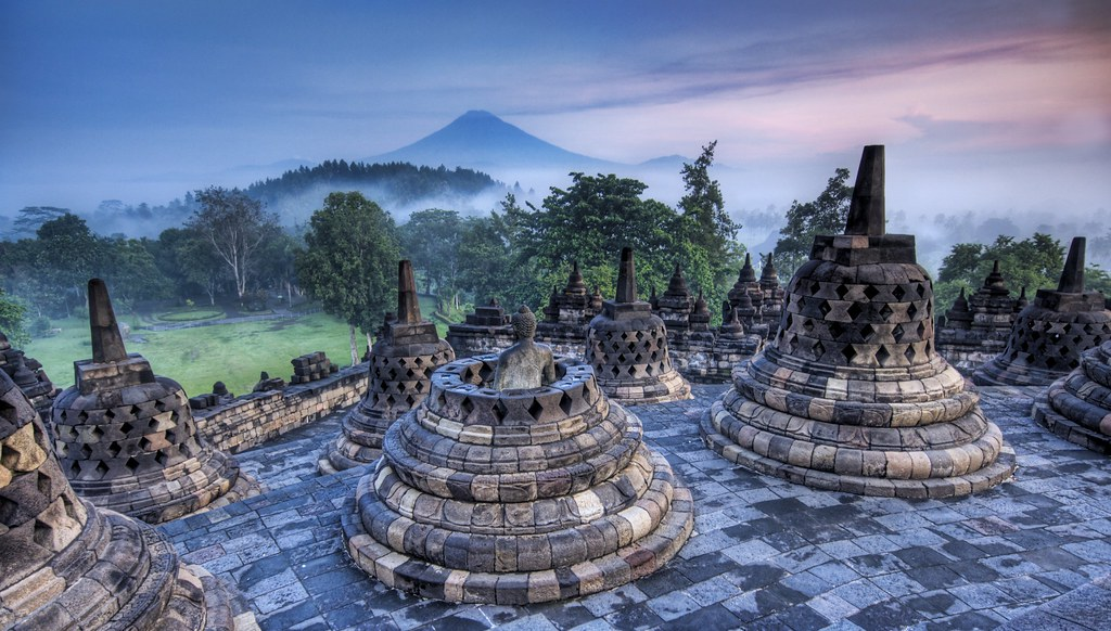 The Hidden Buddhist Temple of Borobudur at Sunrise