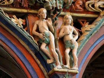 le Faouët St Fiacre jubé détail Adam & Eve