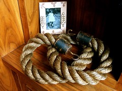 vintage rope with metal hooks with photo of my nana