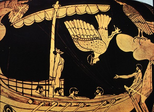 Odysseus and the Sirens Attic red figure stamnos,Thebes, ca. 480-470 BC (detail)