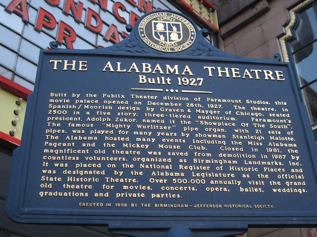 The Alabama Theater, Birmingham, Alabama Historical Marker