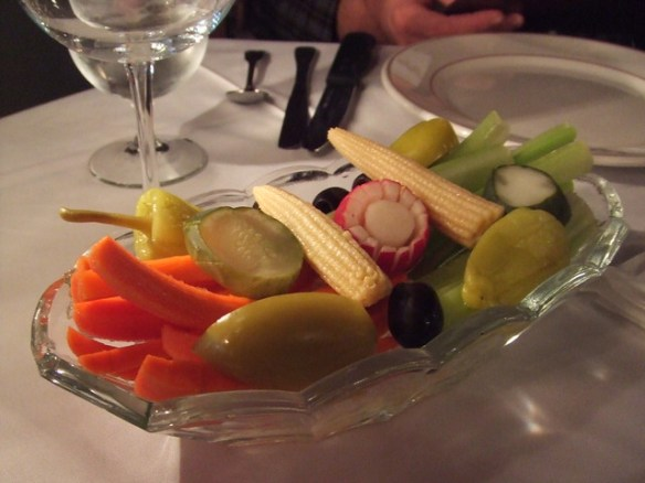 relish tray at the Magic Lamp Inn