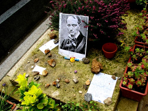 Offerings on Baudelaire's grave, Montparnasse Cemetery, Paris