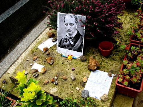 Offerings on Baudelaire's grave, Montparnasse Cemetery, Paris