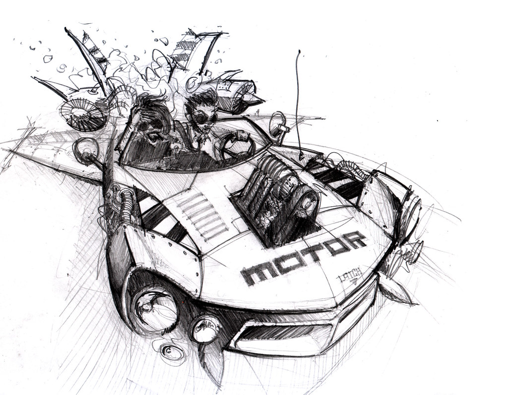 Motor Rocket Car Sketch
