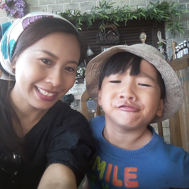 mother and son goofing at the Forest House Baguio