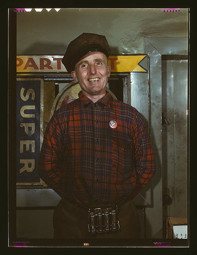 Garage mechanic near Newark, N.J. Badge denotes member of Office of Defense Transportation  (LOC)