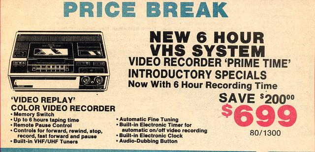 Price Break! VCR for $699!