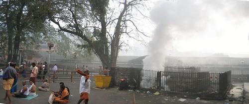 Burning of Ghee coconut shells