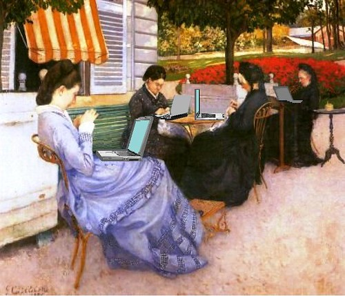 Women of WiFi, after Caillebotte