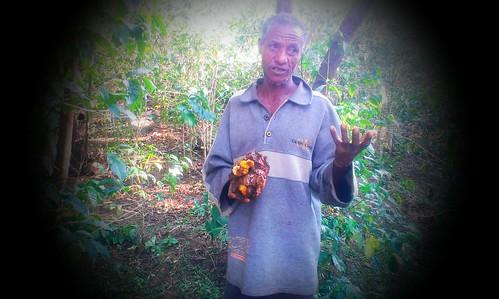 Abajahad, beekeper in Jimma zone holding his wax (Photo:ILRI\Dereje Legesse)