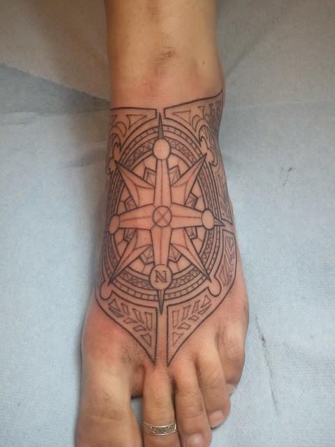 Art Nouveau Styled Compass Rose