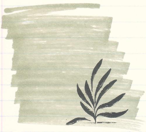 Pentel Pocket Brush Pen Over Copic Green Gray Marker