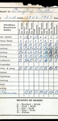 Doug Coulter 2 grade report card 1947