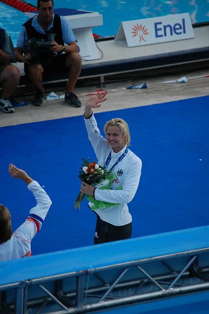 Britta Steffen on top of the Roma 09 podium