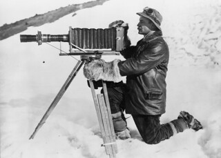 Herbert George Ponting and telephoto apparatus, Antarctica, January 1912