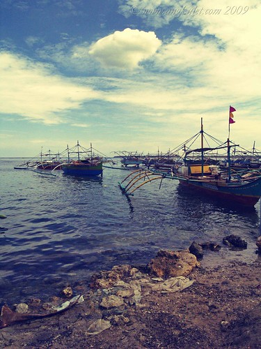 Fishing boats in the town of Bolinao, Pangasinan