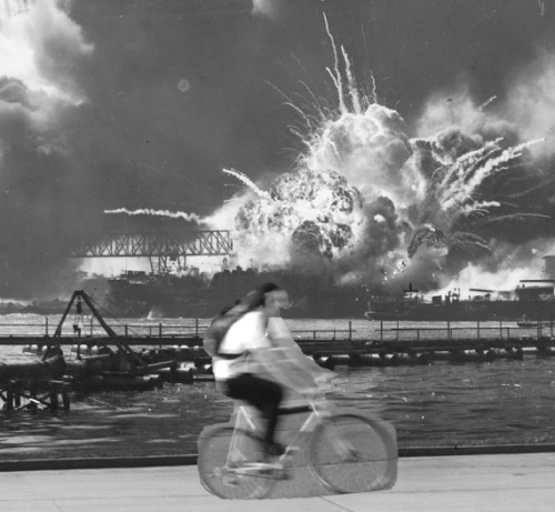 Bike messenger on Pearl Harbor Day