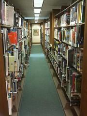 Library book shelves in Aurora Ohio